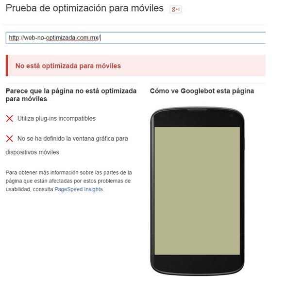 mobilegeddon ejemplo, no apto para móviles