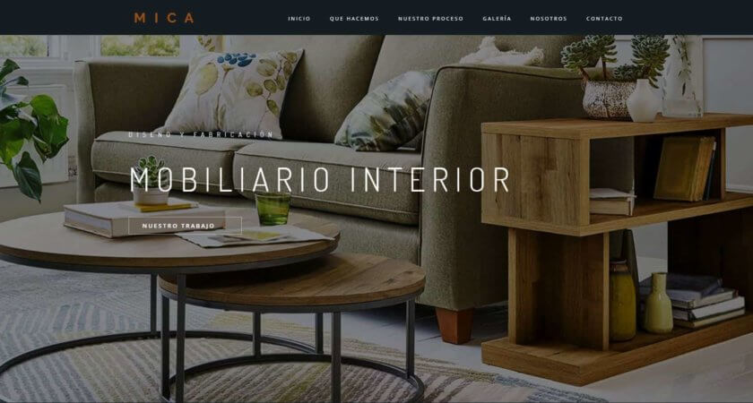 Creamos un sitio Web para MICA Mobiliario interior y carpintería fina